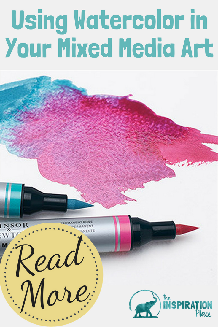 Discover what watercolor supplies can be used in mixed media collage art & download the free printable art supply list for a mixed media and watercolor peacock on https://schulmanart.com/2015/12/using-watercolor-in-your-mixed-media-art/
